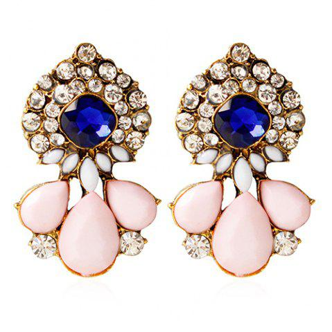 Store Pair of Vintage Rhinestone Water Drop Embellished Earrings For Women