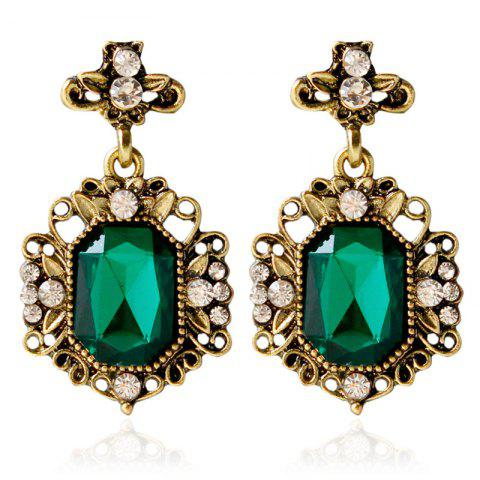 Outfit Pair of Rhinestone Antique Geometric Earrings GREEN