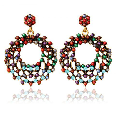 Online Vintage Rhinestone Beads Round Earrings COLORMIX