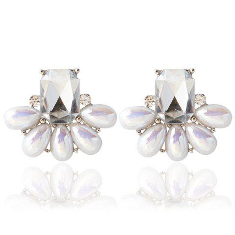 Fake Crystal Pearl Earrings - White - 150*180cm