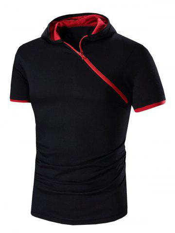 Latest Zipper Design Hooded Short Sleeve T-Shirt For Men RED XL