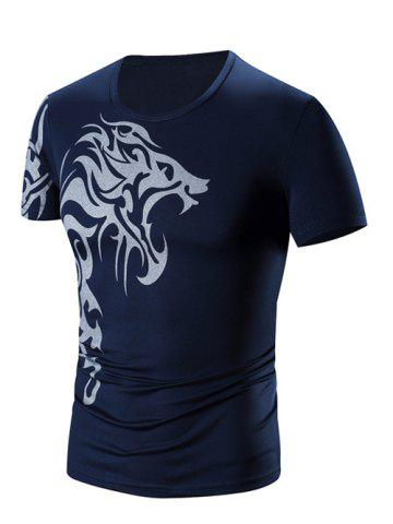 Cheap Round Neck Printing Short Sleeve T-Shirt For Men CADETBLUE 3XL