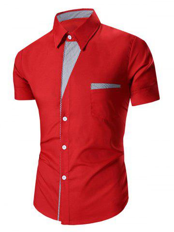 New Turn Down Collar Stripes Printed Short Sleeve Shirt For Men RED 2XL