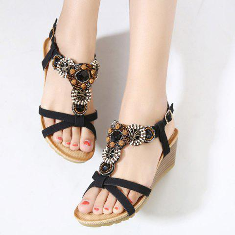 New T-Strap Beaded Wedge Sandals - 38 BLACK Mobile