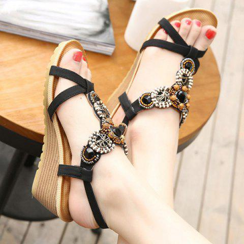 Affordable T-Strap Beaded Wedge Sandals - 38 BLACK Mobile