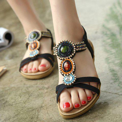 Discount Beaded T-Strap Bohemian Style Flat Sandals - 39 BLACK Mobile