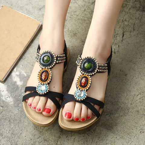 Affordable Beaded T-Strap Bohemian Style Flat Sandals - 39 BLACK Mobile