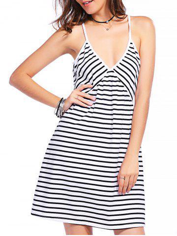 Sale Casual Plunging Neck Gallus Striped Summer Dress For Women WHITE/BLACK L