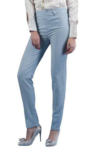 Cheap Ruched Waist Solid Color Pants