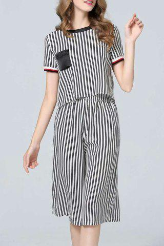 Best Vertical Striped Blouse and Capri Pants Twinset