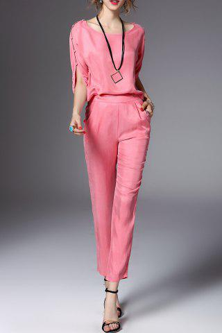 Store Scoop Neck Solid Color Blouse and Pants Twinset
