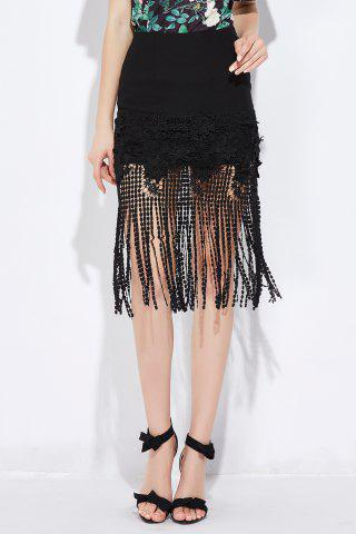 Discount Lace Splicing Fringed Bodycon Skirt