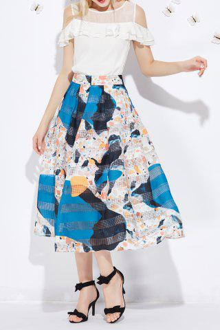Hot Mesh Spliced Print Skirt