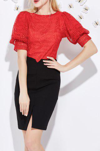 Trendy Lace T-Shirt and Slit Skirt Twinset