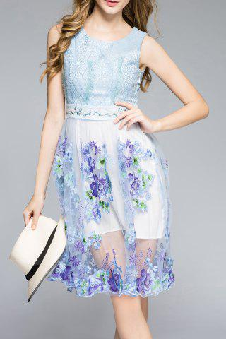 Cheap Sleeveless Embroidered Sun Dress