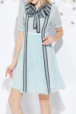 Cheap Bowknot Pleated A Line Dress