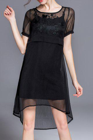 Fancy Solid Color Embroidered High Low Dress
