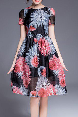 New Floral Print Defined Dress