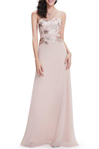 Sale Sequined See-Through Maxi Prom Dress