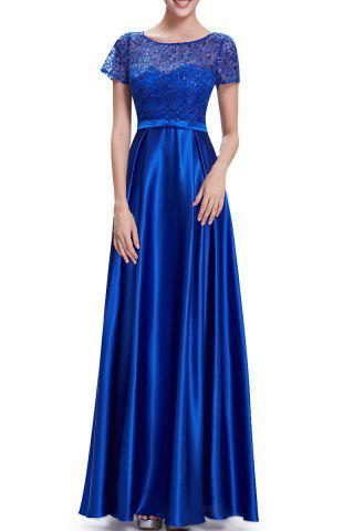 Sale Sequined Lace Splicing Maxi Prom Dress