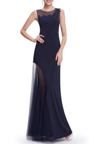 Fancy Voile Splicing See-Through Maxi Prom Dress