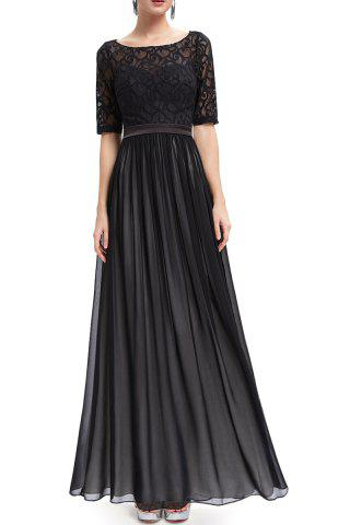 Store Lace Splicing Backless Prom Dress