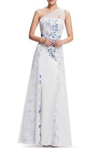 Best One-Shoulder Printed Maxi Prom Dress