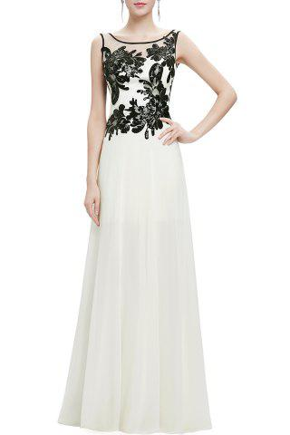 Chic Scoop Neck Sequined Lace Splicing Maxi Prom Dress