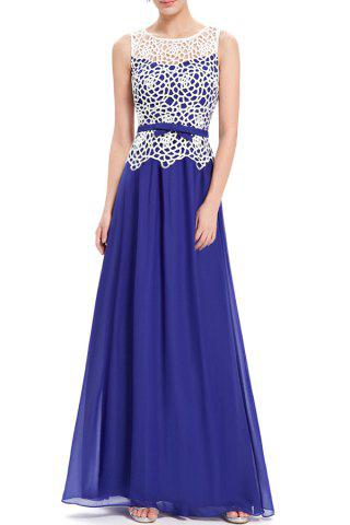Latest Lace Splicing Pleated Maxi Evening Dress