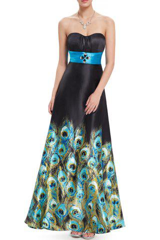 Fashion Strapless Peacock Print Maxi Prom Dress