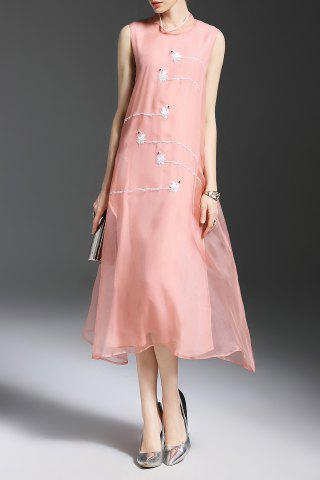 Buy Stand Neck Swan Embroidered Silk Dress