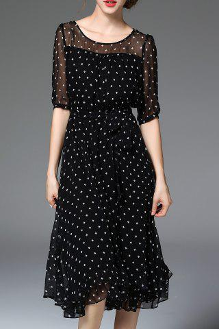 Online Dotted Silk Black Dress BLACK XL