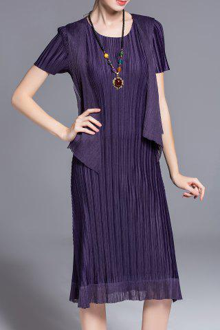 Chic Solid Color Pleated Faux Twinset Dress
