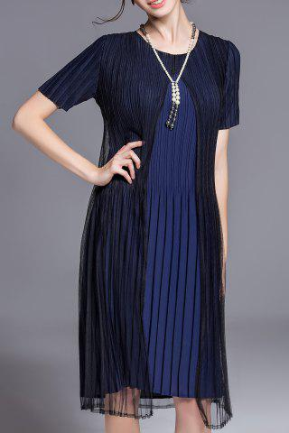 Best Solid Color Pleated Two-Layer Dress