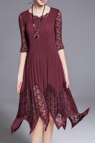 Shops Three Quarter Sleeve Lace Inset Hankerchief Dress