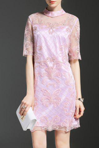 Chic Stand Neck Half Sleeve Embroidered Pink Dress