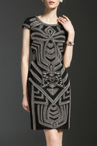 Outfit Embroidered Cape Sleeve Sheath Dress