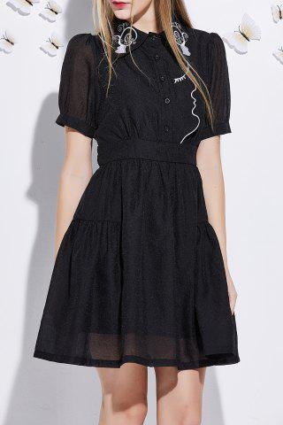 Chic Short Sleeve Embroidered A Line Dress