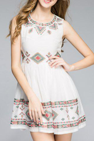 Affordable Sleeveless Geometric Embroidered Sun Dress