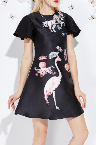 Sale Flounced Sleeve Animal Pattern Dress