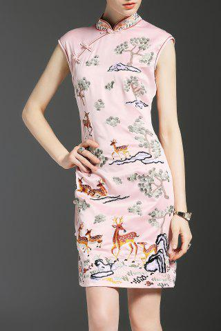 Fashion Vintage Deer Embroidered Cheongsam Dress
