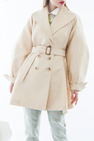 Sale Double-Breasted Solid Color Coat