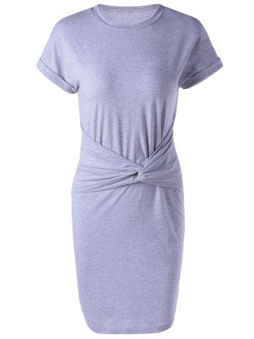 Trendy Short Sleeve Bodycon Casual Dress With Short Sleeve - S LIGHT GRAY Mobile