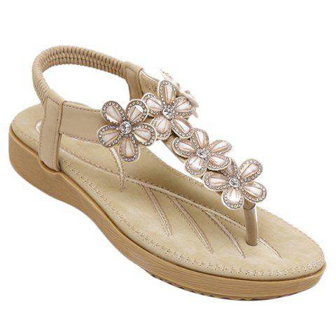 Trendy Flower Rhinestone Embellished Flat Thong Sandals APRICOT 37