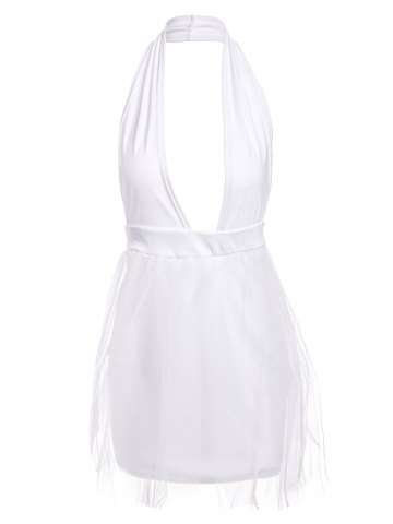 Fancy Sexy Halter Plunging Neckline Sleeveless Muilt-Layered Ball Gown Dress For Women - L WHITE Mobile