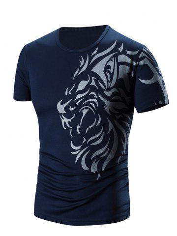 Shop Round Neck Printed Short Sleeve T-Shirt For Men