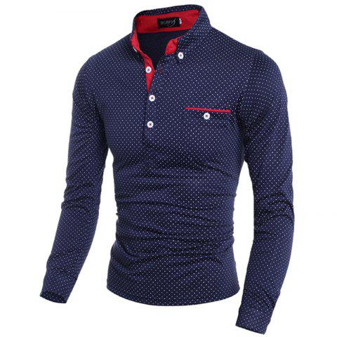 Discount Polka Dot Print Long Sleeves Polo Shirt