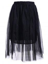 Elastic Waist Puff Five Layers Tulle Skirt - BLACK