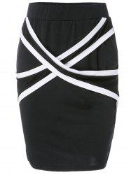Stylish Criss-Cross Bodycon Skirt For Women - BLACK