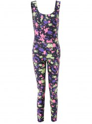 Jumpsuit Stylish Scoop Neck manches imprimées moulantes Minceur Femmes - Multicolore
